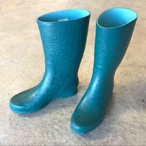 UGG Wilshire Logo Teal Short Rubber Rain Boots 7